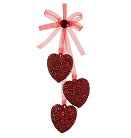 Kurt Adler Acrylic Red Glittered Triple Hearts Ornament w Bow  D1281R
