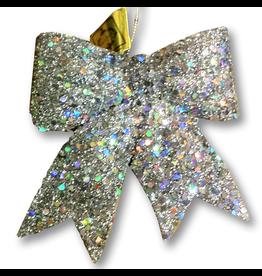 Silver Glitter Bow Ornament-Tie