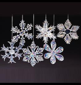 Kurt Adler Glass Iridescent Snowflake Ornaments Christmas Set of 12