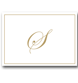 Caspari Gold Embossed Initial Note Cards Letter S Boxed Set of 8