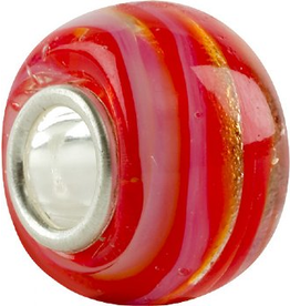 Chamilia Charm Murano Glass Bead O-17 Spiral Red