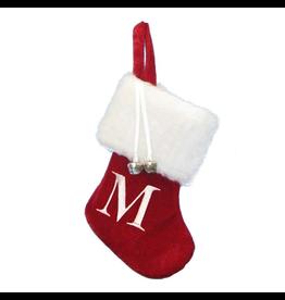 Kurt Adler Mini Red Monogrammed Christmas Stocking w Initial Letter M