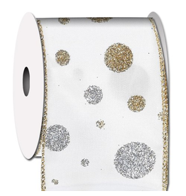 Ribbon Gold n Silver Glitter Dot Strike Ribbon