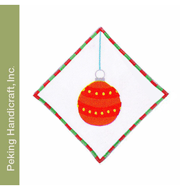 Peking Handicraft Glitterville Ball Ornament Linen Cocktail Napkin