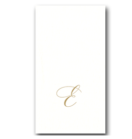 Caspari White Pearl Paper Linen Guest Napkins Initial E 24pk