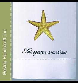 Peking Handicraft Hand Towel w Embroidered Starfish Astropeeten Araneiaus