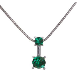 Annaleece Necklace Sweet Emerald Rhodium Pendant with Crystals