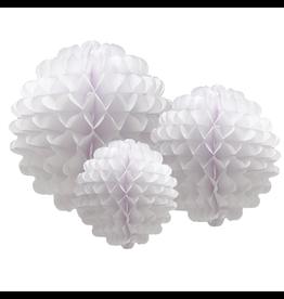 Tissue Honeycomb Flower Pom Pom Set of 3 White