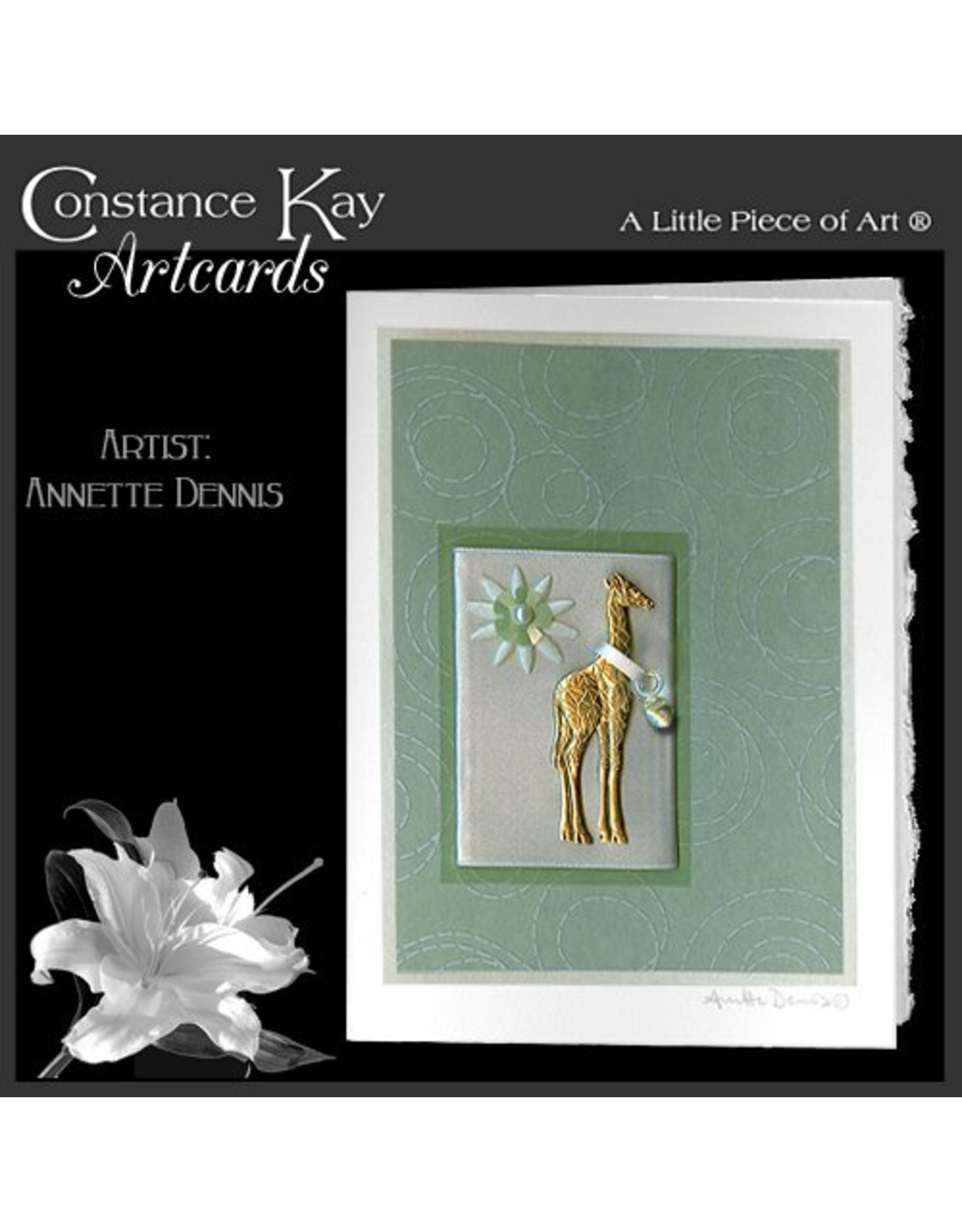 Constance Kay Art Card New Baby Giraffe with Pacifier