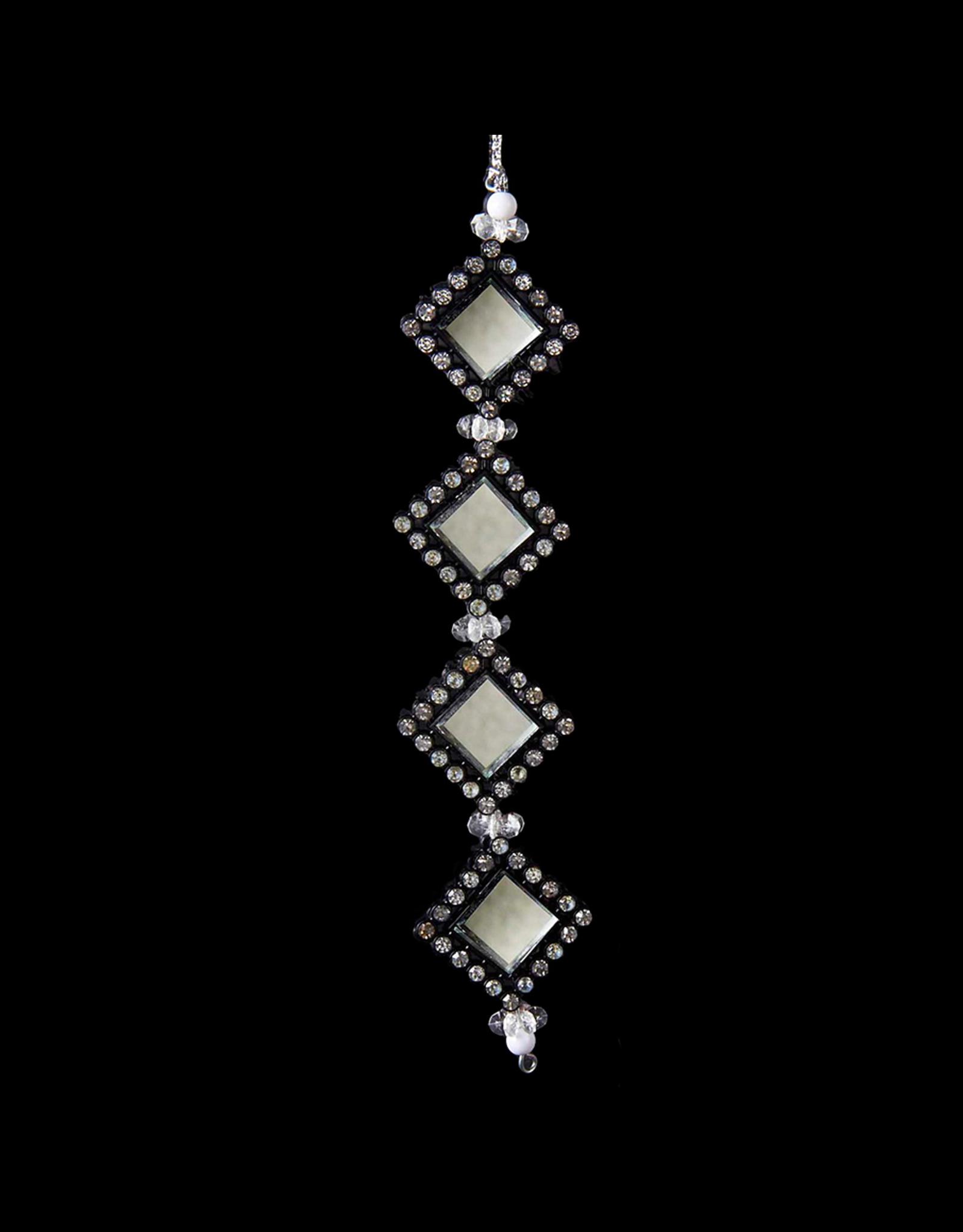 Kurt Adler Black and Silver Gemstone Ornament Square -A