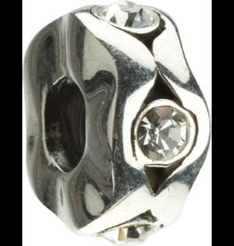 Chamilia Cat Eyes Aquamarine Silver Bead w CZ JB-12A