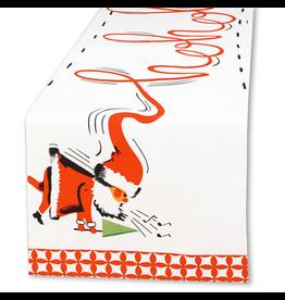 Peking Handicraft Christmas Table Runner Linen w Ho Ho Ho Vintage Santa 72L by Rosanna