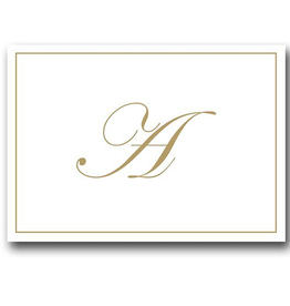Caspari Gold Embossed Initial Note Cards Letter A Boxed Set of 8