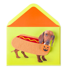 PAPYRUS® Halloween Card Hot Dog Dashshund In Wiener Costume