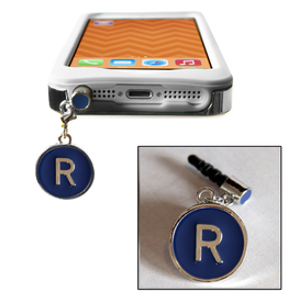 TECH Candy Phone Charms Earphone Jack Jewelry Letter R Silver Blue
