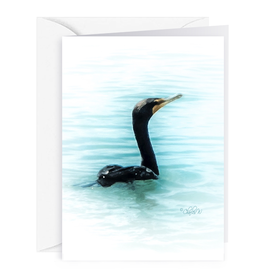 By The Seas-N Greetings Blank Note Card - Cash - Gift Card Holder - Cormorant