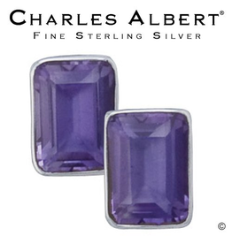 Charles Albert Jewelry Sterling Silver Amethyst Earrings- Post