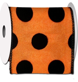 Orange Black Felt Dot Ribbon 10Yards - 2.5 Wide