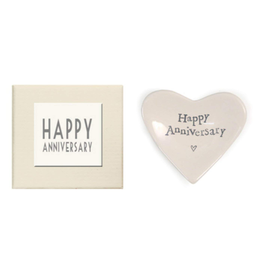 East of India Porcelian Heart Dish Keepsake w Happy Anniversary
