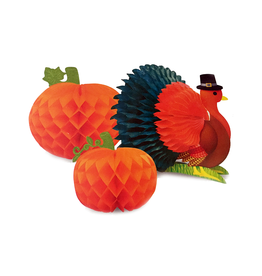 PAPYRUS® Thanksgiving Decor 3pc Set Honeycomb Turkey w Pumpkins