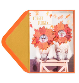 PAPYRUS® Thanksgiving Cards Couple of Hams Cats W Fall Leaves