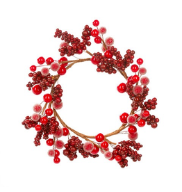 Darice Christmas Candle Ring Mixed Red Berries For 4.5 inch Pillar
