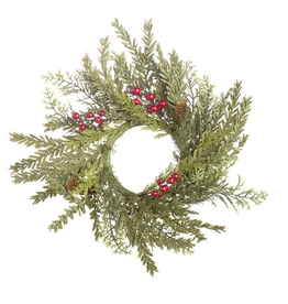 Darice Christmas Candle Ring Mixed Cedar w Red Berries 13.5 inch