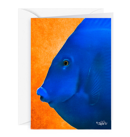 By The Seas-N Greetings Blank Note Card - Cash - Gift Card Holder - Blue Fish III