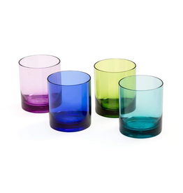 Caspari Acrylic 14oz On The Rocks Highball Giftset of 4 Jewel Tones
