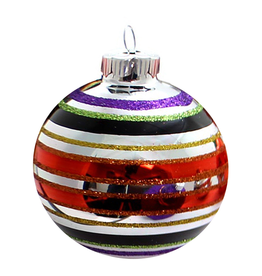 Christopher Radko Shiny Brite Blown Glass Halloween Ball Ornament - Stripes