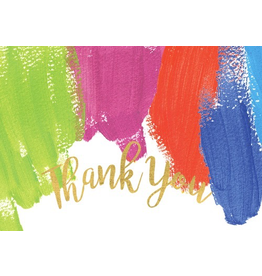 Caspari Thank You Note Cards Boxed Set of 8 - Brush Strokes