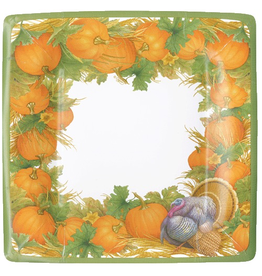 Caspari Fall Thanksgiving Paper Salad Dessert Plates 8ct Harvest Turkey