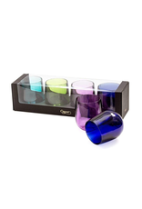 Caspari Acrylic 12oz Tumblers Giftset of 4 Shatter Resistant Jewel Tones