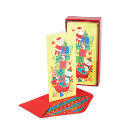 PAPYRUS® Boxed Christmas Cards Santa Stacked Presents On Sleigh 16pk