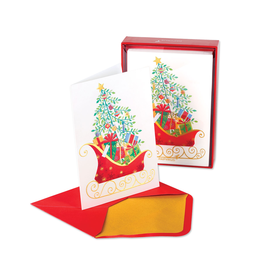 PAPYRUS® Boxed Christmas Cards Sleigh w Tree and Presents 14pk