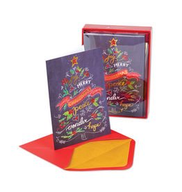 PAPYRUS® Boxed Christmas Cards Chalkboard Christmas Tree 14pk