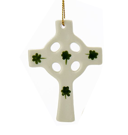 Kurt Adler Irish Christmas Ornament Porcelain Cross w Shamrocks