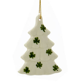 Kurt Adler Irish Christmas Ornament Porcelain Tree w Shamrocks