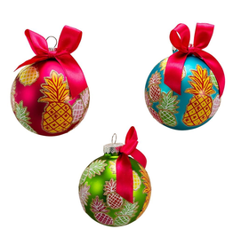 Kurt Adler Pineapple Pattern Glass Ball Ornaments 80mm Set of 6