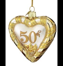 Kurt Adler Noble Gems Glass 50th Anniversary Heart Ornament