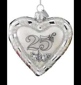 Kurt Adler Noble Gems Glass 25th Anniversary Heart Ornament