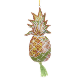 Kurt Adler Porcelain Pineapple Glittered Decal w Tassel Ornament - OR