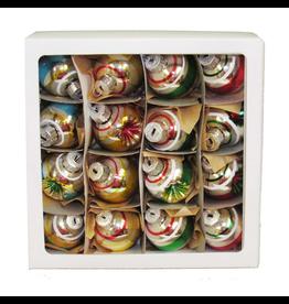 Kurt Adler Mini Glass Ball Ornaments Solid And Reflector 30mm 16pc Set