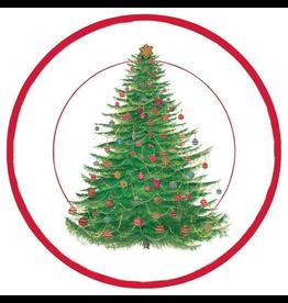 Caspari Christmas Paper Salad-Dessert Plates Glittering Tree