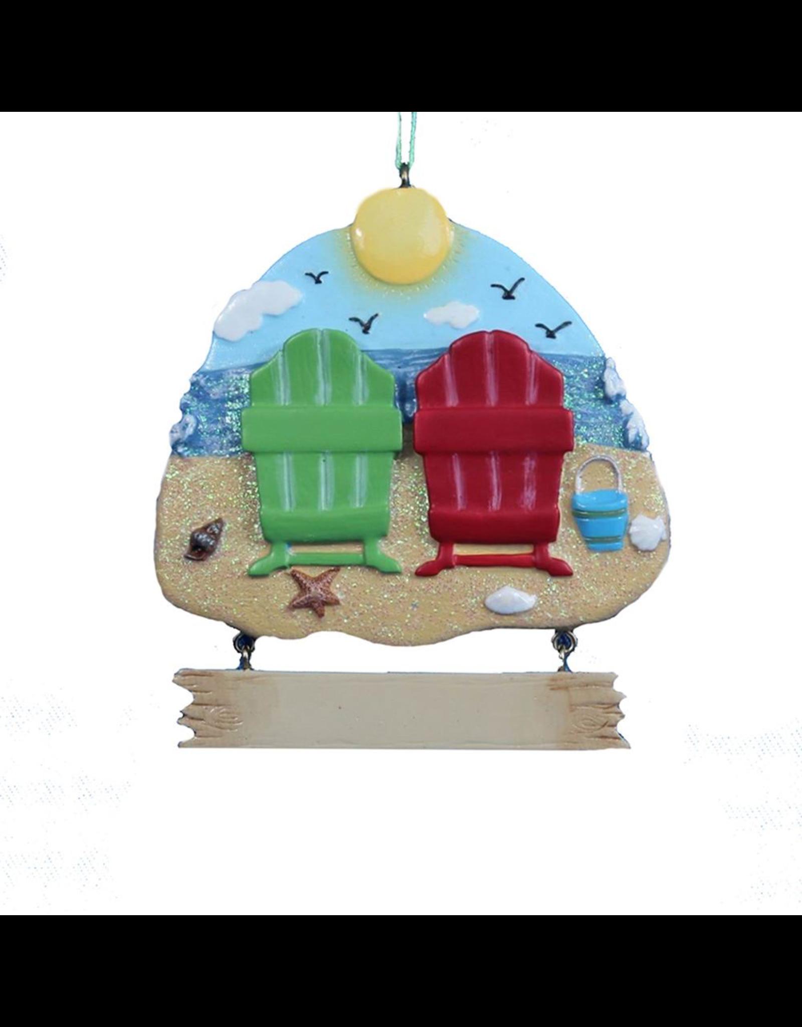 Kurt Adler Adirondack Beach Chairs Viewing Ocean Ornament 3.5 inch