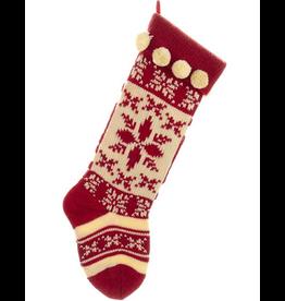 Kurt Adler Red And White Yarn Knit Christmas Stocking w Snowflake