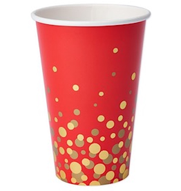 PAPYRUS® Paper Party Cups 8pk - Simple Gold Dot on Red