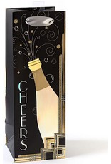 PAPYRUS® Art Deco Cheers Bottle Bag 5x14x5 Inch Wine Bag