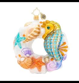 Christopher Radko Wondrous Waters Wreath Coastal Christmas Ornament