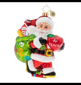 Christopher Radko Hall Pass For Santa Teacher Christmas Ornament